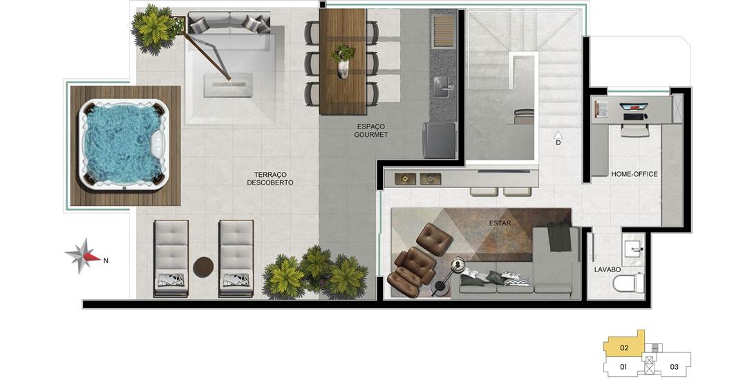 Apartamento 702 - 2° nível com home office